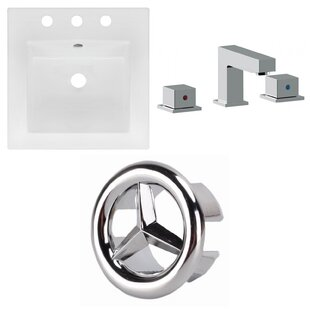 Comparison Ceramic Square Drop-In Bathroom Sink with Faucet and Overflow ByAmerican Imaginations