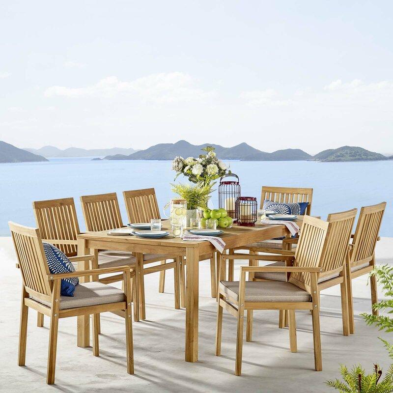 Rosecliff Heights Koa Outdoor 9 Piece Teak Dining Set With Cushions Wayfair Ca
