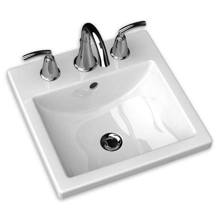 Studio Ceramic Square Drop In Bathroom Sink With Overflow