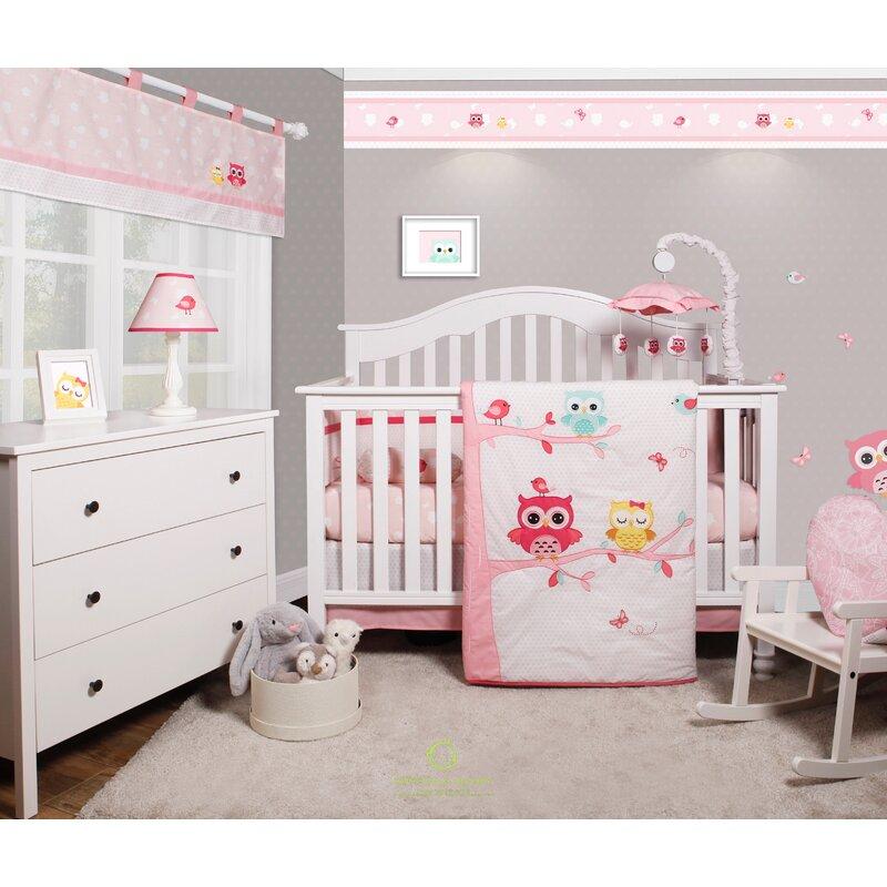 doncaster enchanted owls family baby girl nursery 6 piece crib bedding set - Baby Girl Crib Bedding