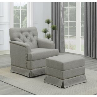 Bednar Cement And Brass Swivel Glider And Ottoman by Darby Home Co Sale