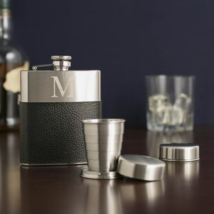 Alexa Monogrammed Leather-Wrapped Flask