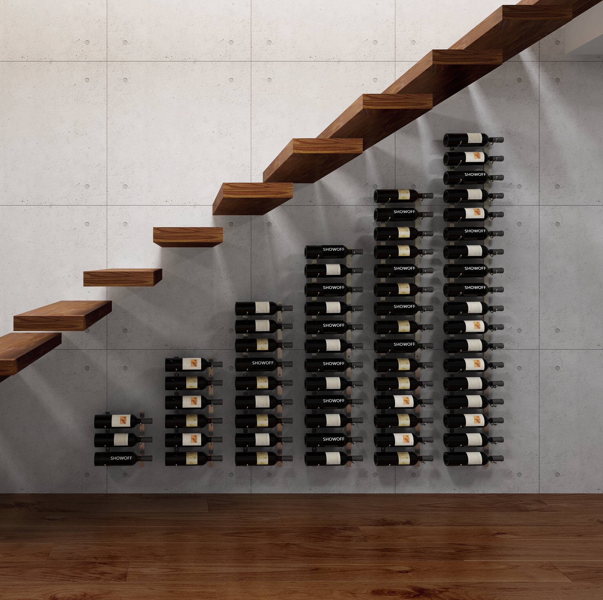 Rebrilliant Indurial Modular Under The Stairs 63 Bottle Wall Mounted Wine Bottle Rack Reviews Wayfair