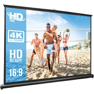 Retractable PullOutStyle White 50 Manual Projection Screen by Pyle