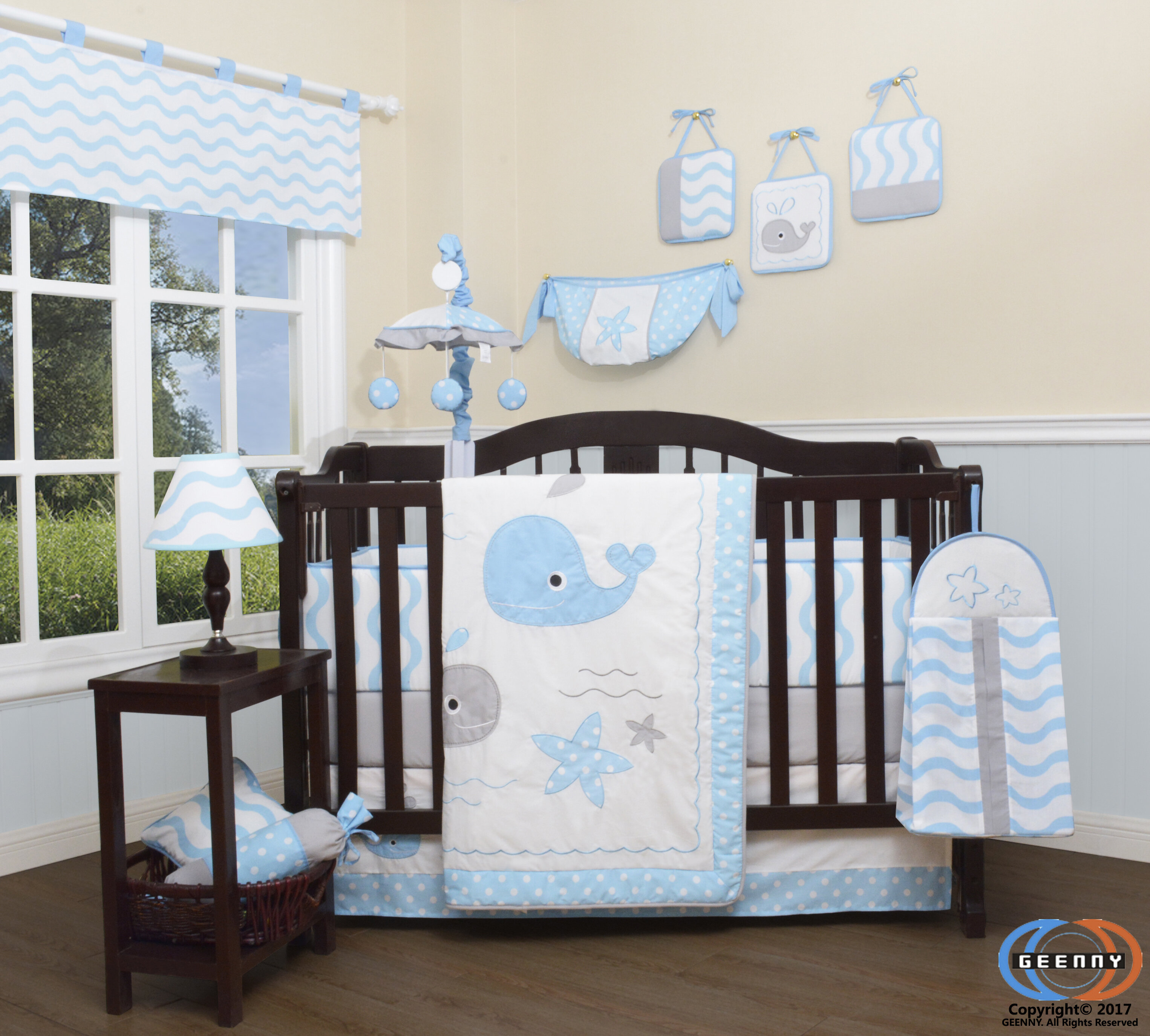 Pierson Baby Lovely Whale Nursery 13 Piece Crib Bedding Set