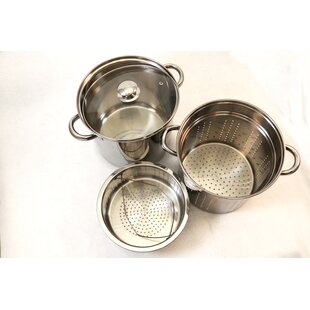 4 Piece Excel Stainless Steel Pasta Cooker Multi-Pot Set with Lid
