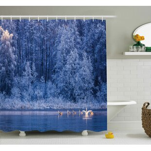 Winter Idyllic Nature Decor Print Single Shower Curtain