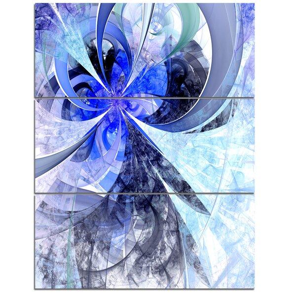 Designart Blue White Fractal Flower Pattern 3 Piece Graphic Art On Wrapped Canvas Set Wayfair