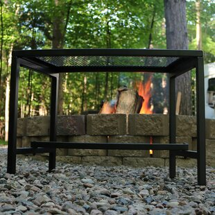 Odalis Mesh Metal Patio Fire Pit Bench