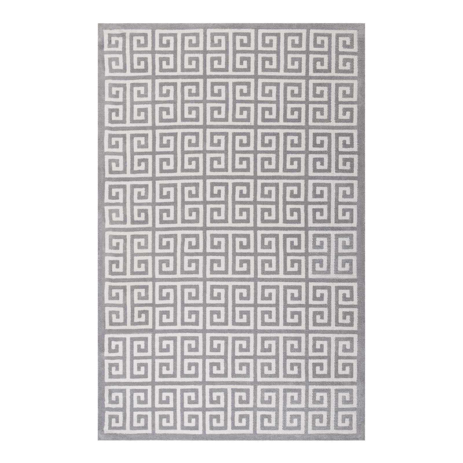 Selman Greek Key Whitelight Gray Area Rug