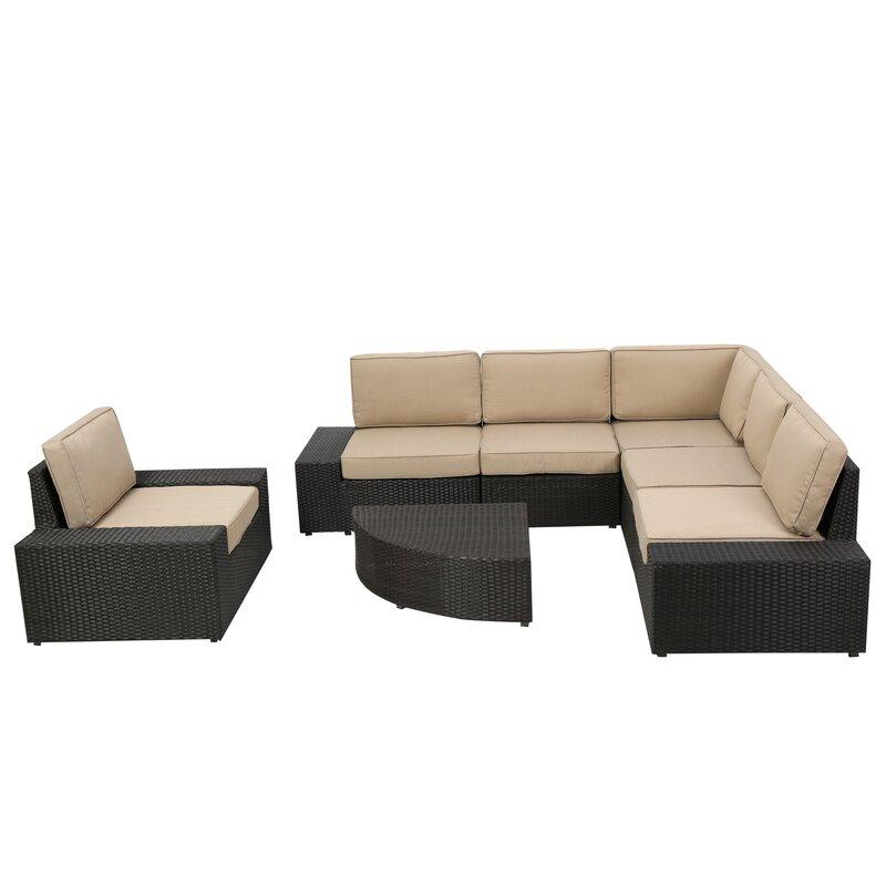 Wade Logan  Mountview 7 Piece Rattan Conversation Set with Cushions