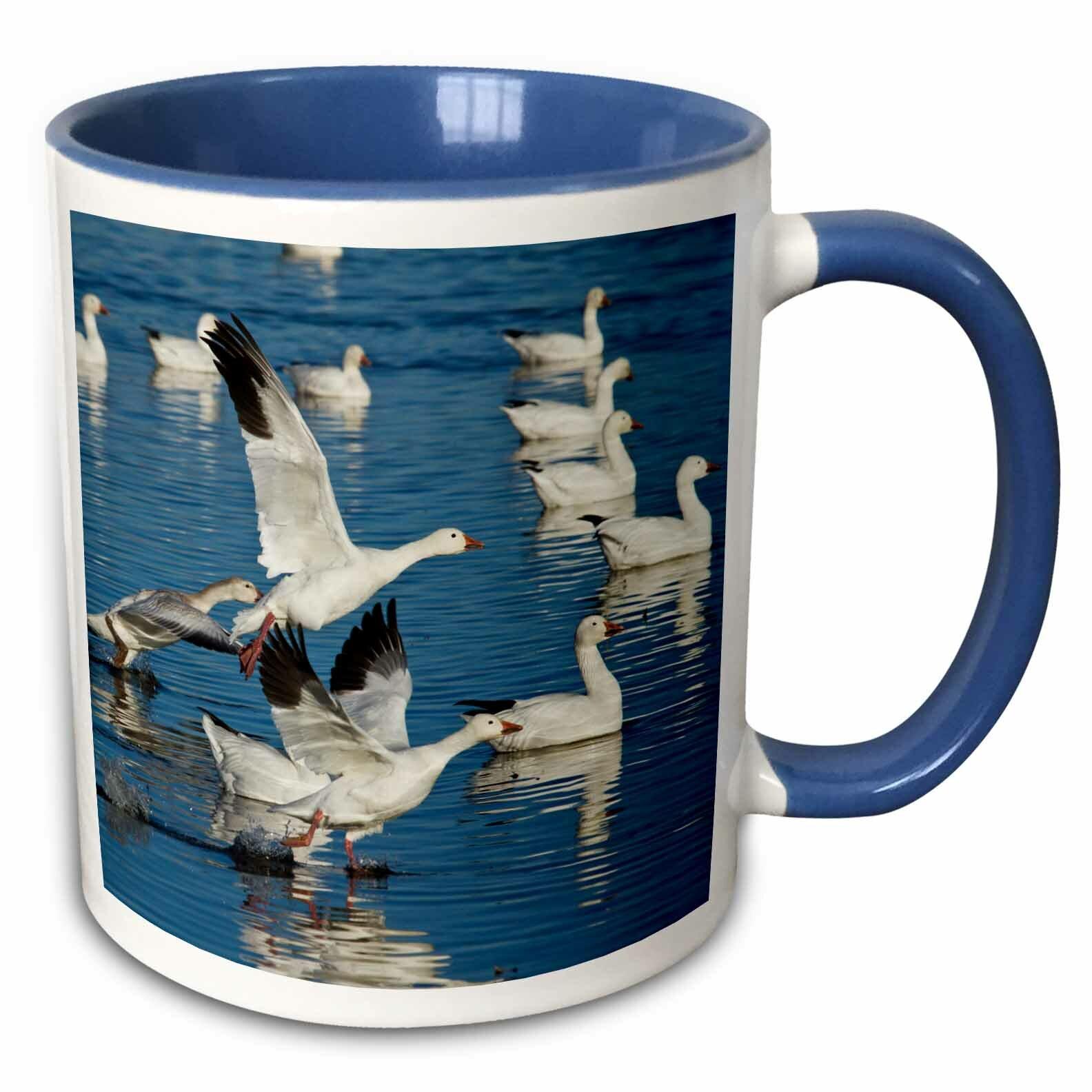 Ceramic blue mug with geese