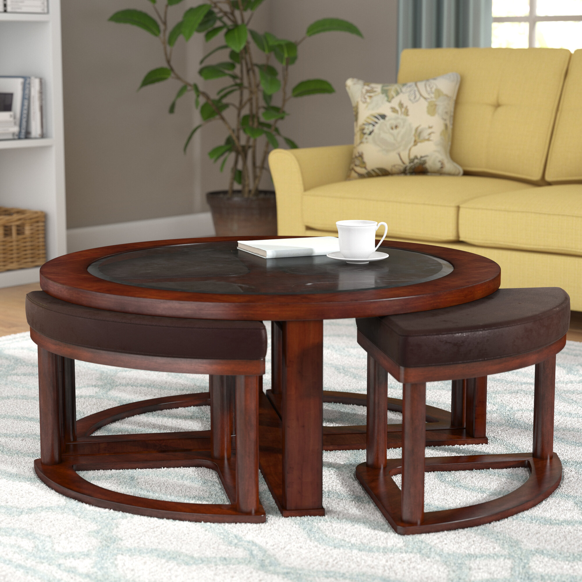 Coffee Table With Stools.Eastin Coffee Table With Nested Stools
