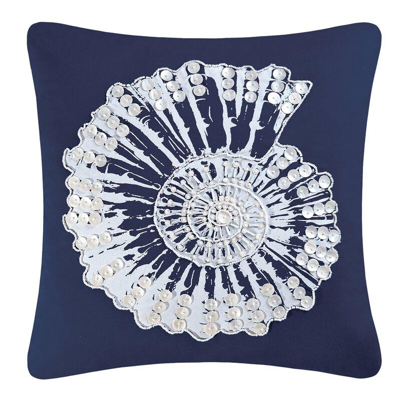 Breakwater Bay Bernal Nautilus Shell Embellished 100 Cotton Throw Pillow Reviews Wayfair