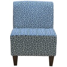 Penelope Armless Towers Blue Slipper Chair by Fox Hill Trading