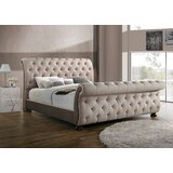 Hepler King Tufted Upholstered Sleigh Bed with Mattress by Canora Grey
