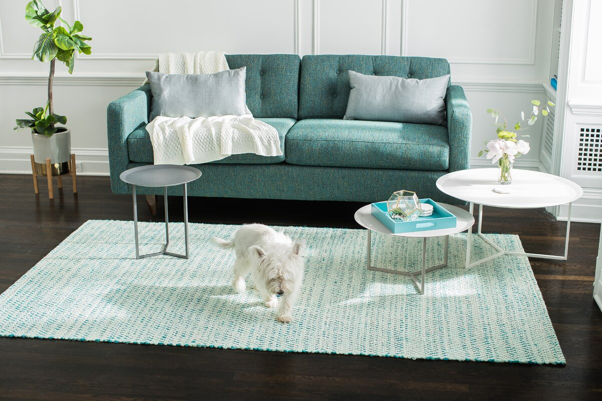 Rosecliff Heights Flatweave Hand-Woven Green/Ivory Area Rug ...
