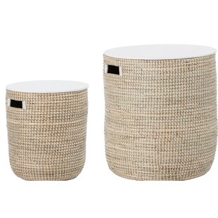 Reviews Knap Round Seagrass 2 Piece Tables by Bungalow Rose