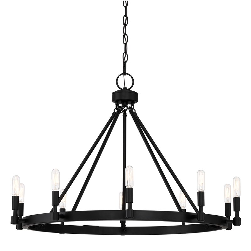 Drubin 10-Light Candle Style Wagon Wheel Chandelier
