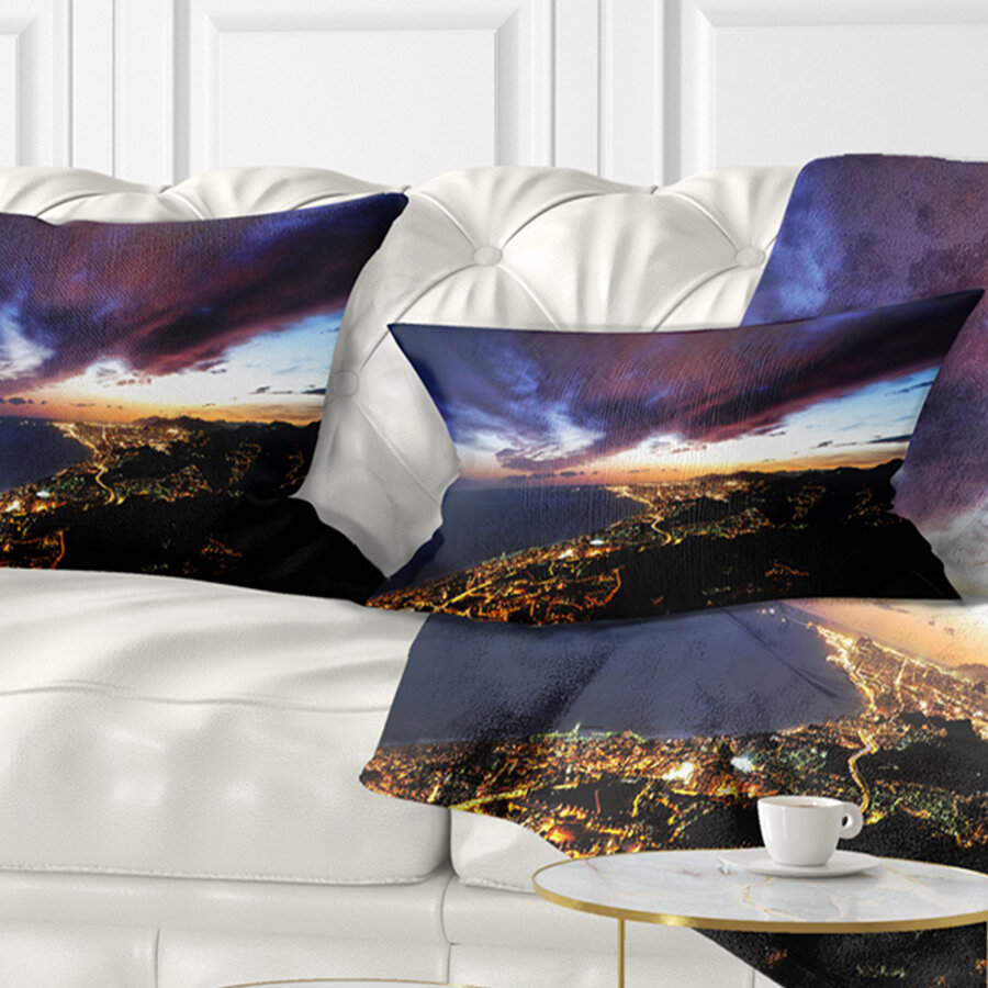 East Urban Home Cityscape Barcelona Skyline Panorama Lumbar Pillow Wayfair