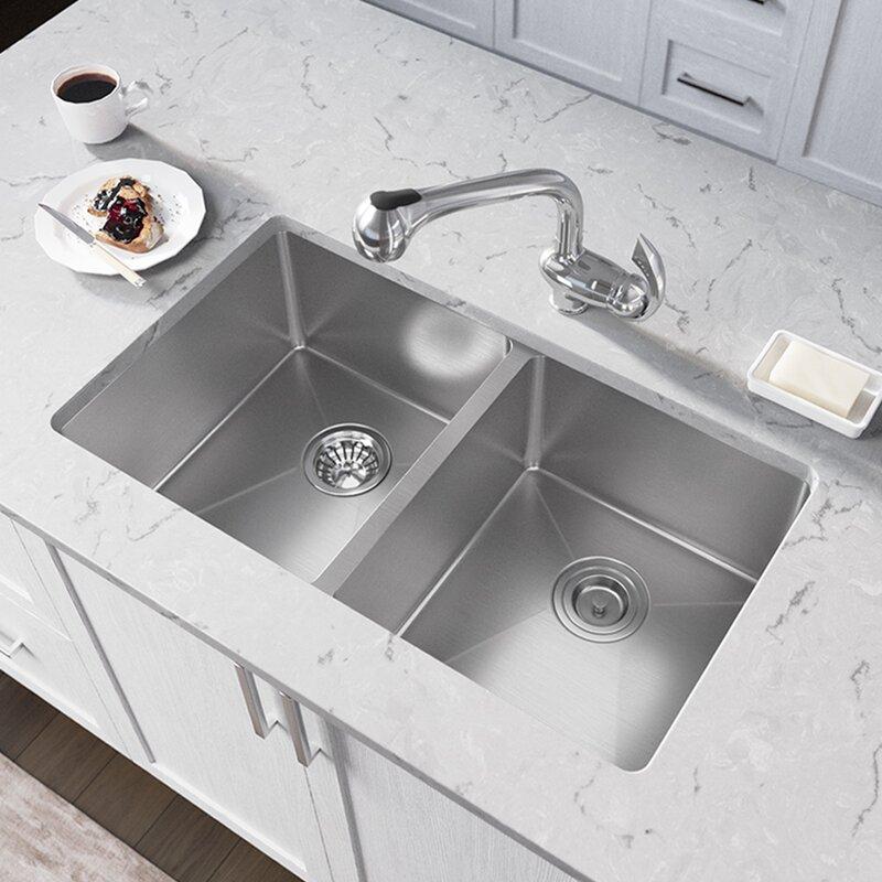 Mrdirect 31 L X 18 W Double Basin Undermount Kitchen Sink Wayfair