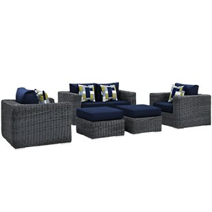 Keiran 5 Piece Sunbrella Sofa Set with Cushions