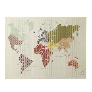 Steel world map wall decor wayfair beige metal pattern world map wall dcor gumiabroncs Gallery