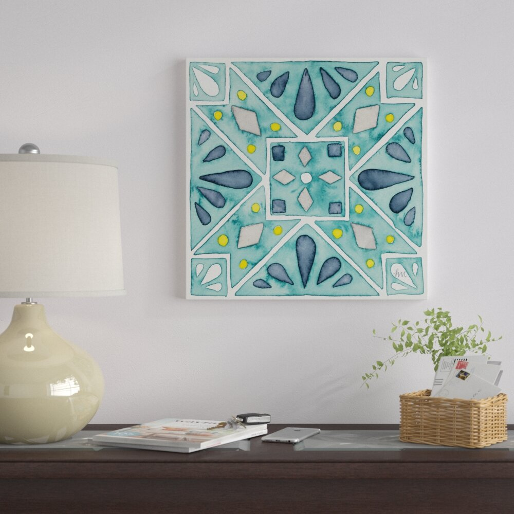 East Urban Home \'Garden Getaway Tile IX Teal\' Print on Canvas   Wayfair