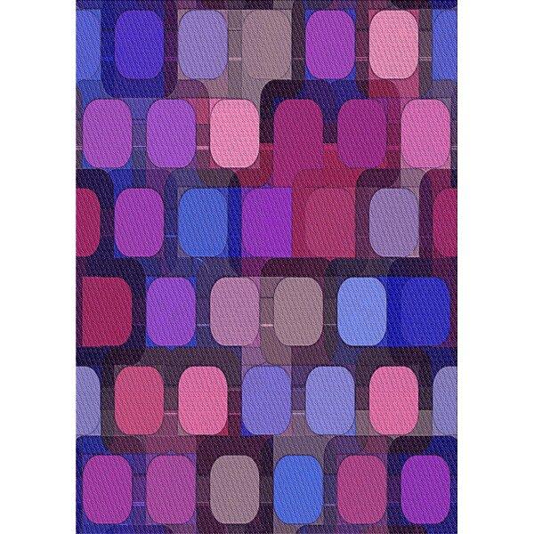 East Urban Home Geometric Wool Pink Blue Purple Area Rug Wayfair