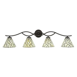 Price comparison Hiroko 4-Light Tiffany Glass Shade Vanity Light By Red Barrel Studio