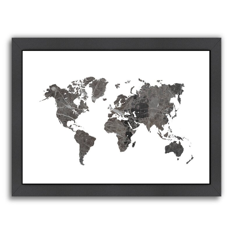 world map art marble graphic art print