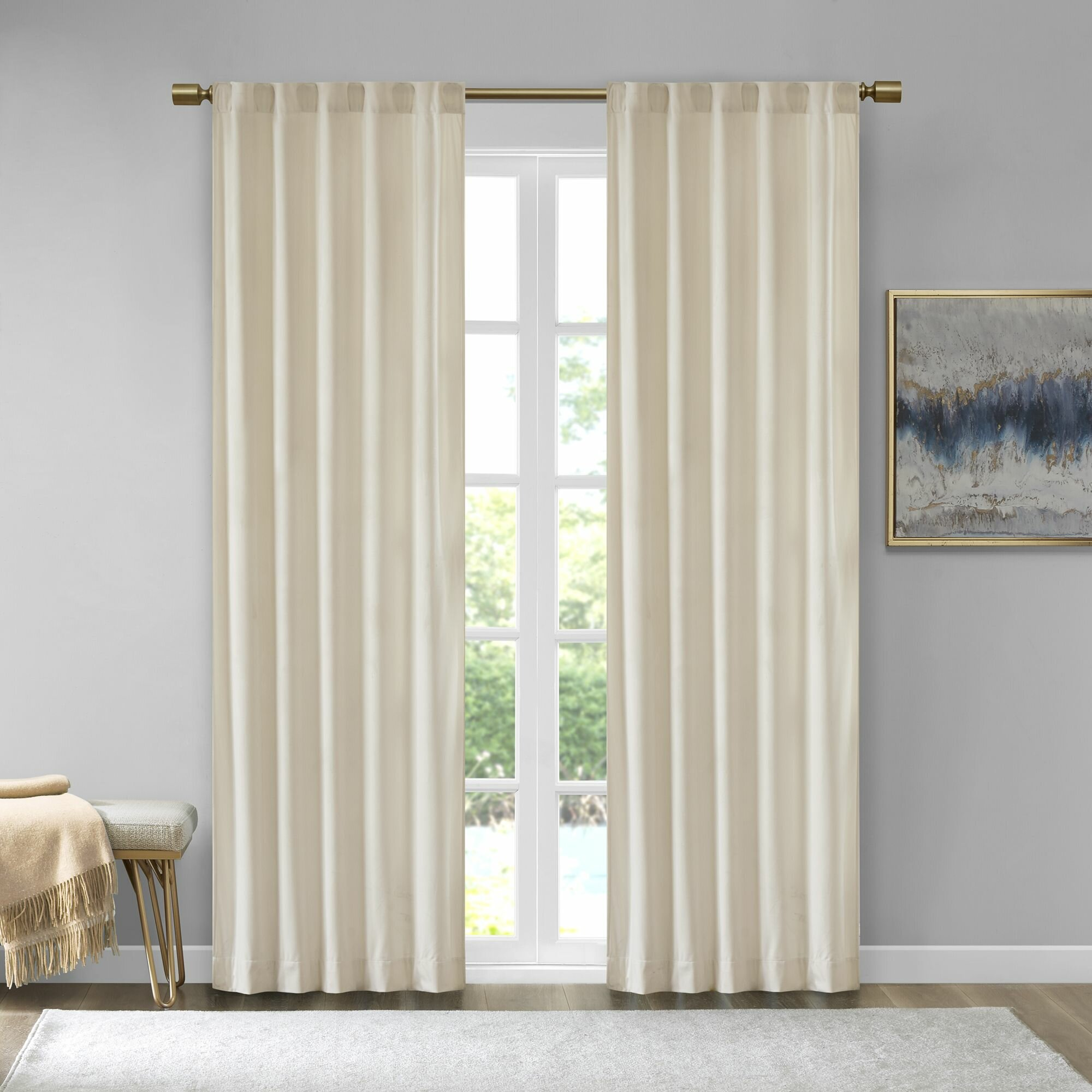 Foundstone Aurora Poly Velvet Solid Color Room Darkening Rod Pocket Curtain Panels Reviews Wayfair