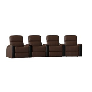 Home Theater Curved Row Seating with LED Lighting (Row of 4) by Latitude Run
