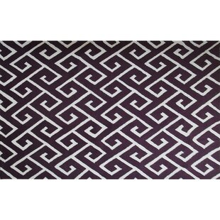Online Reviews Bambous Hand-Hooked Aubergine/White Area Rug By Threadbind