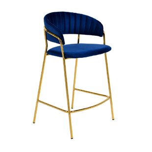 Reba Velvet Bar Stool (Set of 2) by Everly Quinn