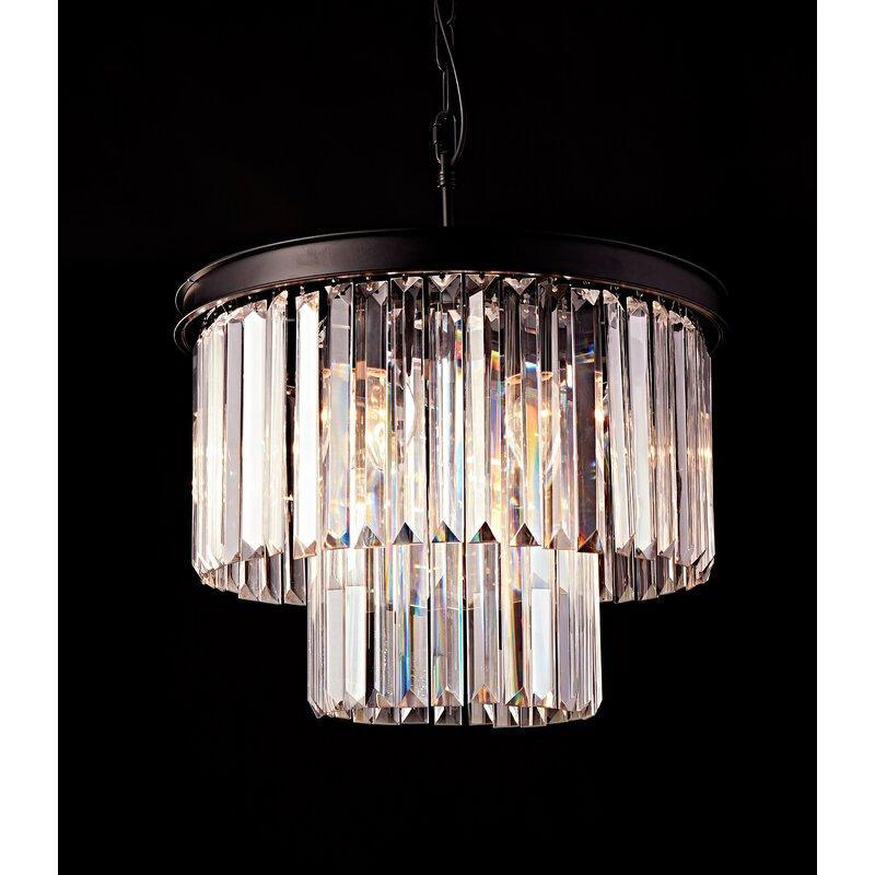 Arriola Modern K9 Raindrop 6-Light Crystal Chandelier