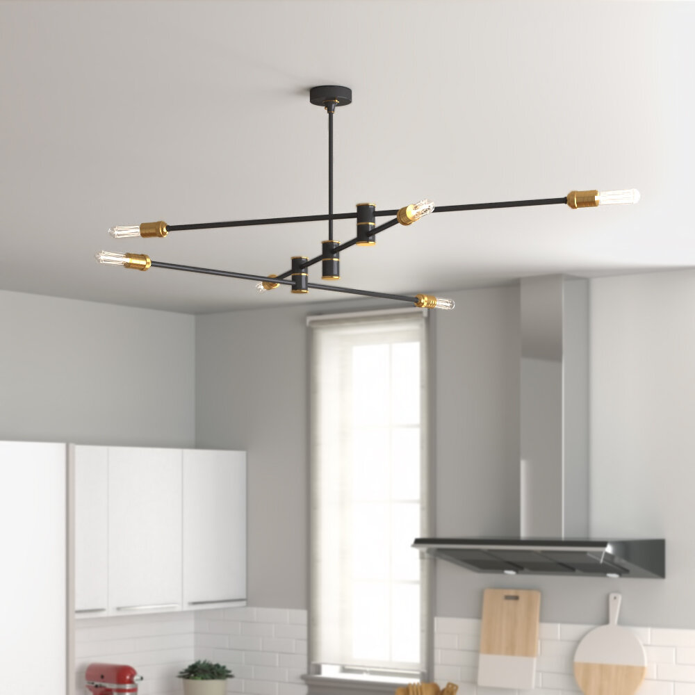 Brayden Studio Alapaha 6 Light Sputnik Modern Linear Chandelier Reviews Wayfair Ca