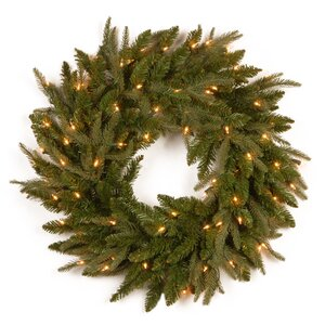 Buy Fraser Pre-Lit Feel-Real Grande Wreath with Clear Lights!
