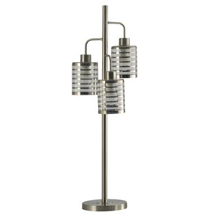 Ambler Brushed Steel Contemporary 3 Headed 36 Table Lamp