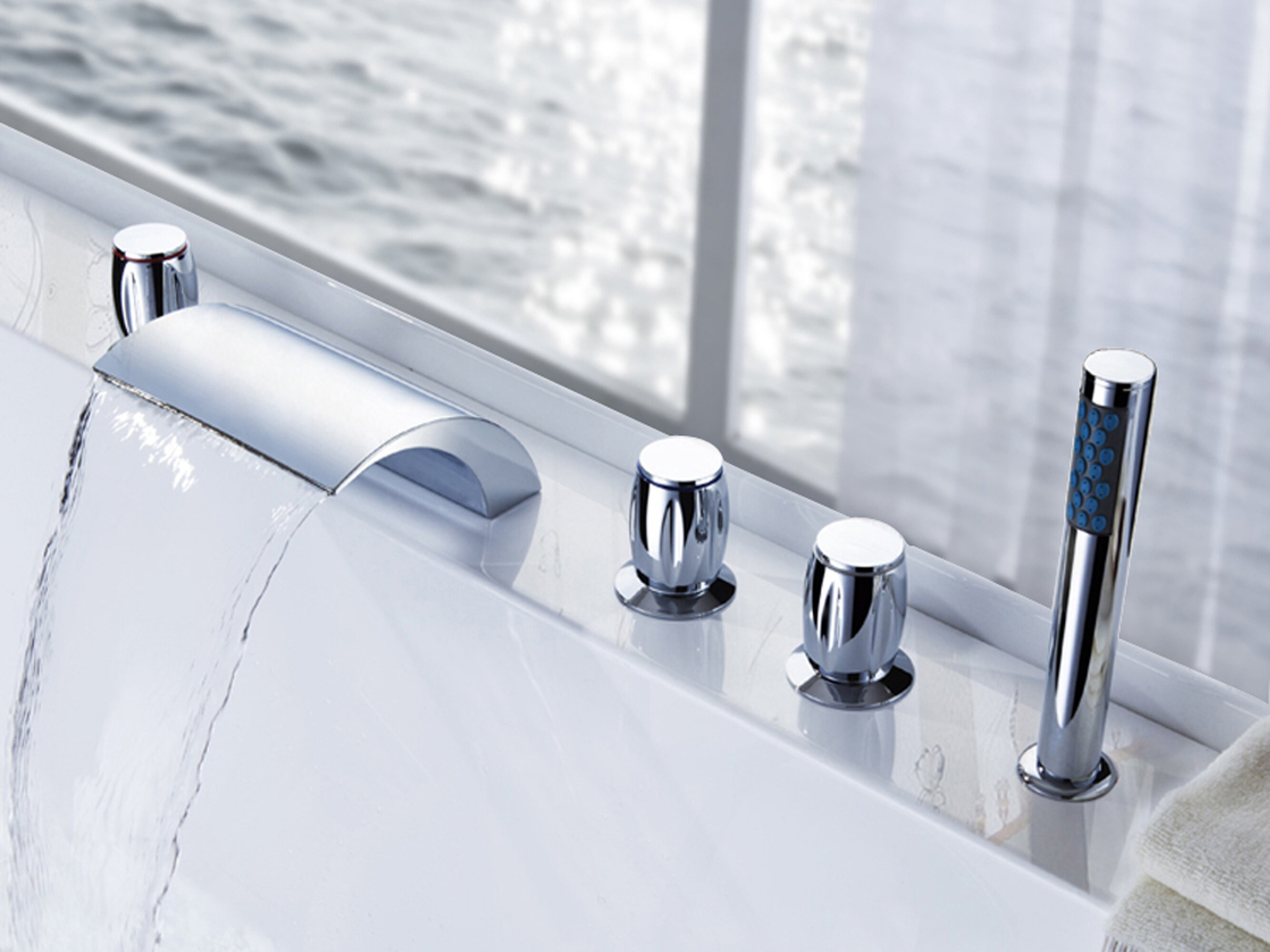 Sumerain Contemporary Modern Triple Handle Deck Mounted Roman Tub Faucet With Diverter And Handshower Wayfair
