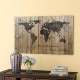 Carte du monde par Fireside Home - Art graphique encadré imprimé sur bois