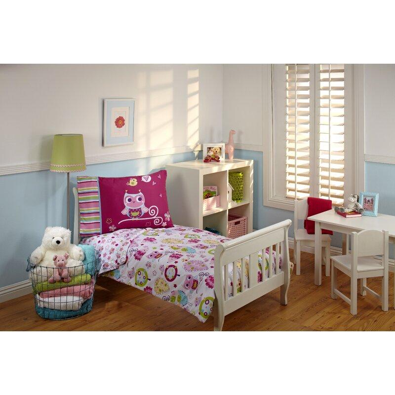 Harriet Bee Mahika Hoot Hoot 4 Piece Toddler Bedding Set Reviews Wayfair