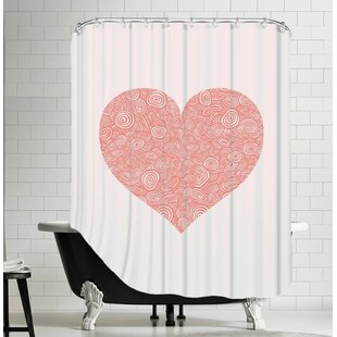 Vandewa Love Hearts Swirl Single Shower Curtain by Brayden Studio Savings