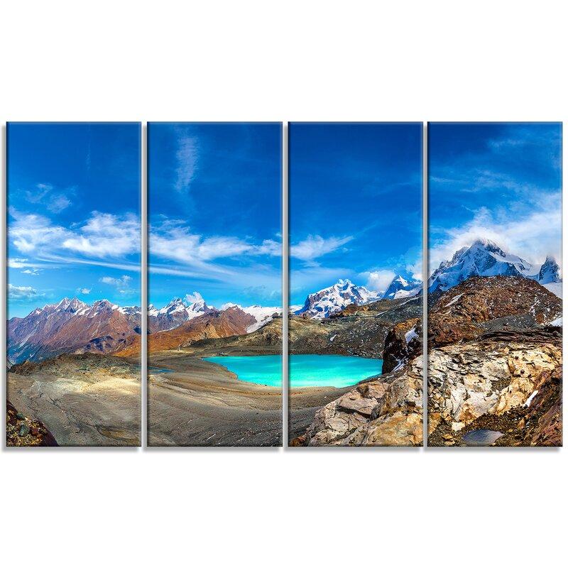Designart Enchanting Swiss Alps Mountains 4 Piece Graphic Art Print Set On Wrapped Canvas Wayfair