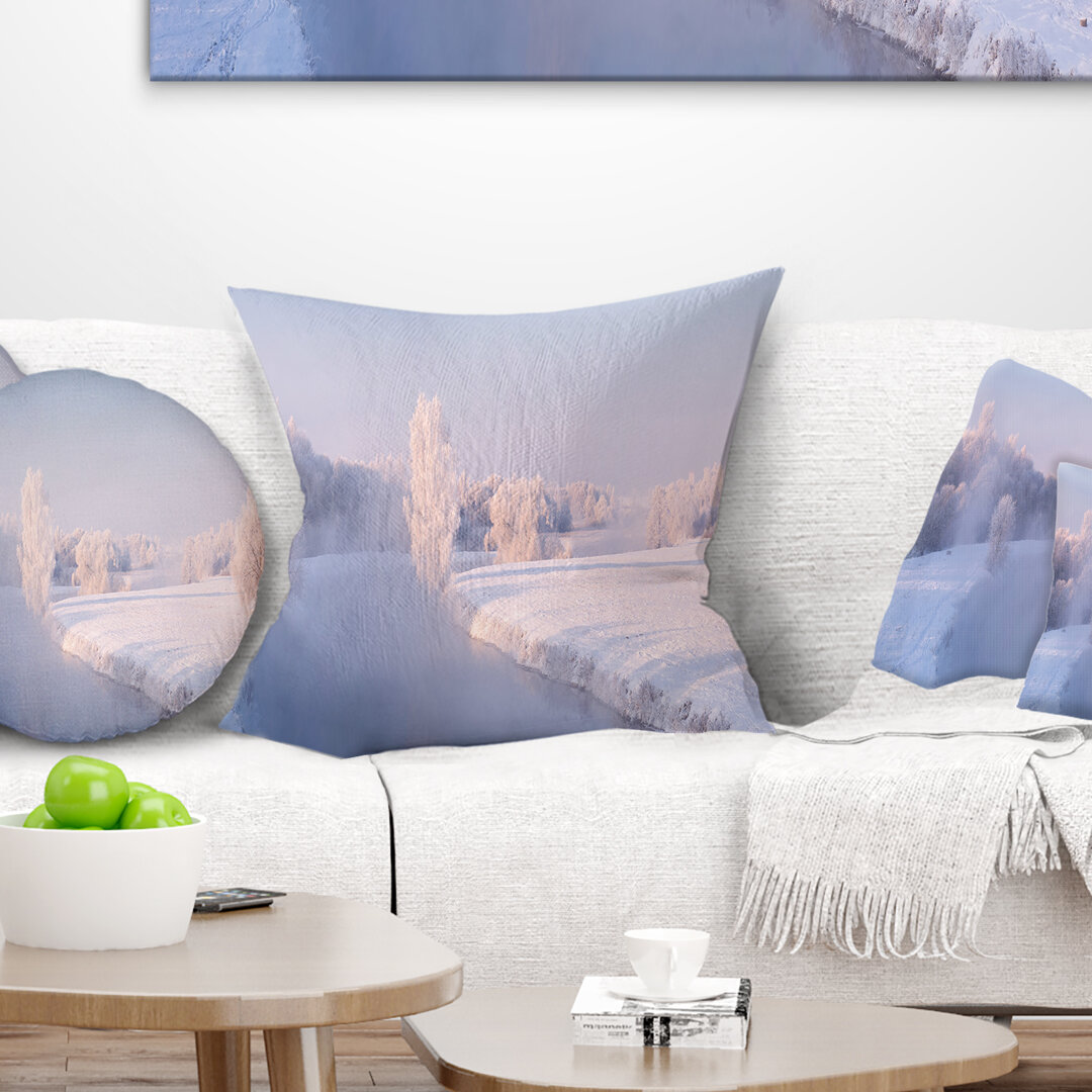 East Urban Home Landscape Printed Bright Colorful Winter Day Pillow Wayfair