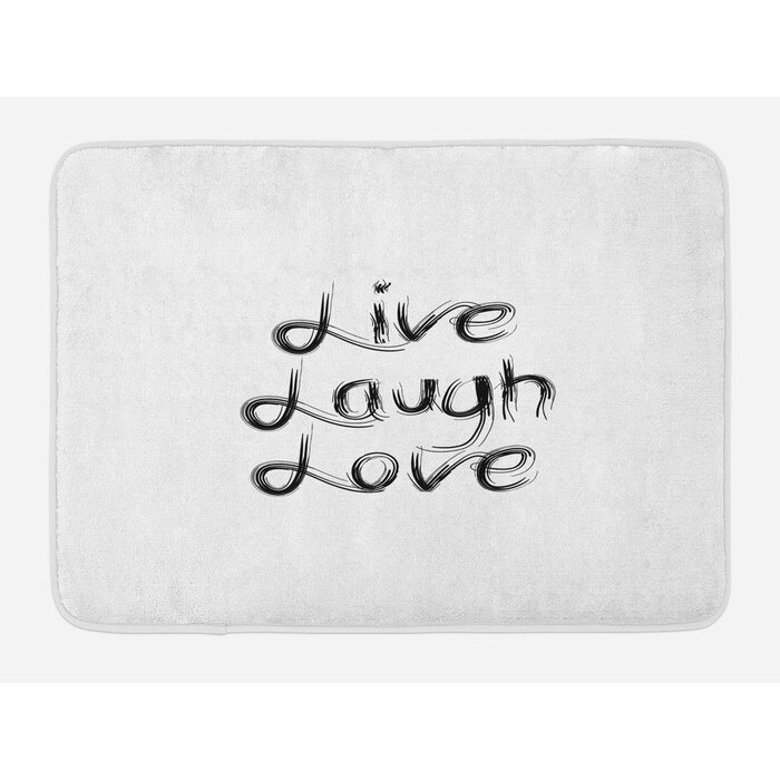 Ambesonne Live Laugh Love Bath Mat by, Abstract Hand Lettering  Inspirational Quote with Monochrome Design Lines, Plush Bathroom Decor Mat  with Non ...