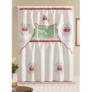 Marcel Red Apple 3 Piece Kitchen Curtain Set