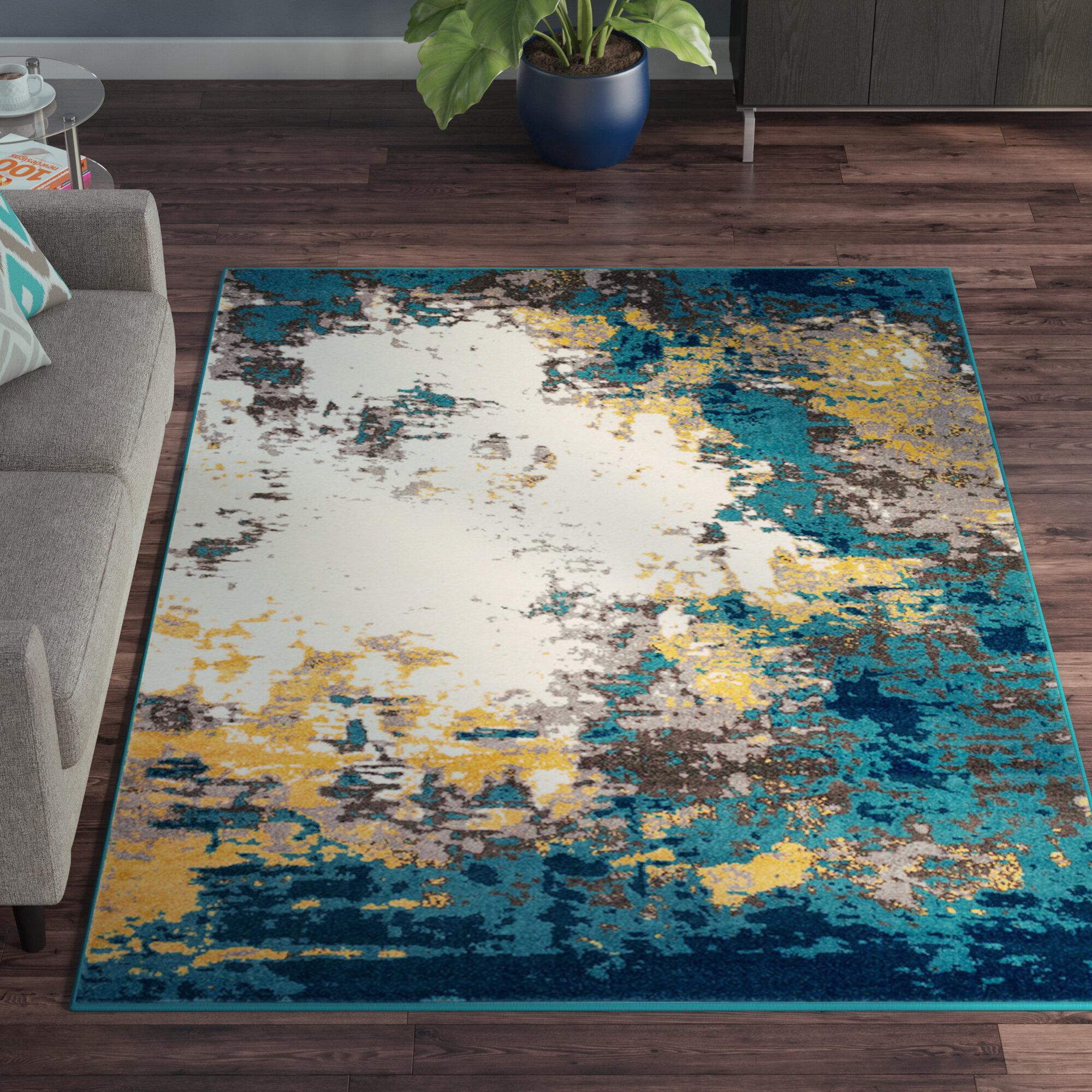 Wrought Studio Shuff Aqua Bright Blue Area Rug Reviews Wayfair