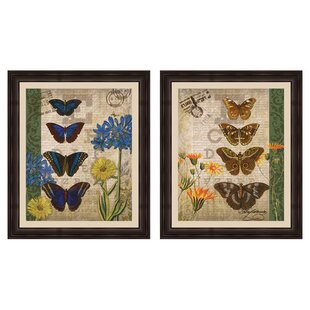 Papillon 2 Piece Framed Graphic Art Set by PTM