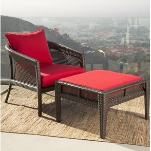 Fincham Sunbrella Red Outdoor Wicker Patio Chair by August Grove